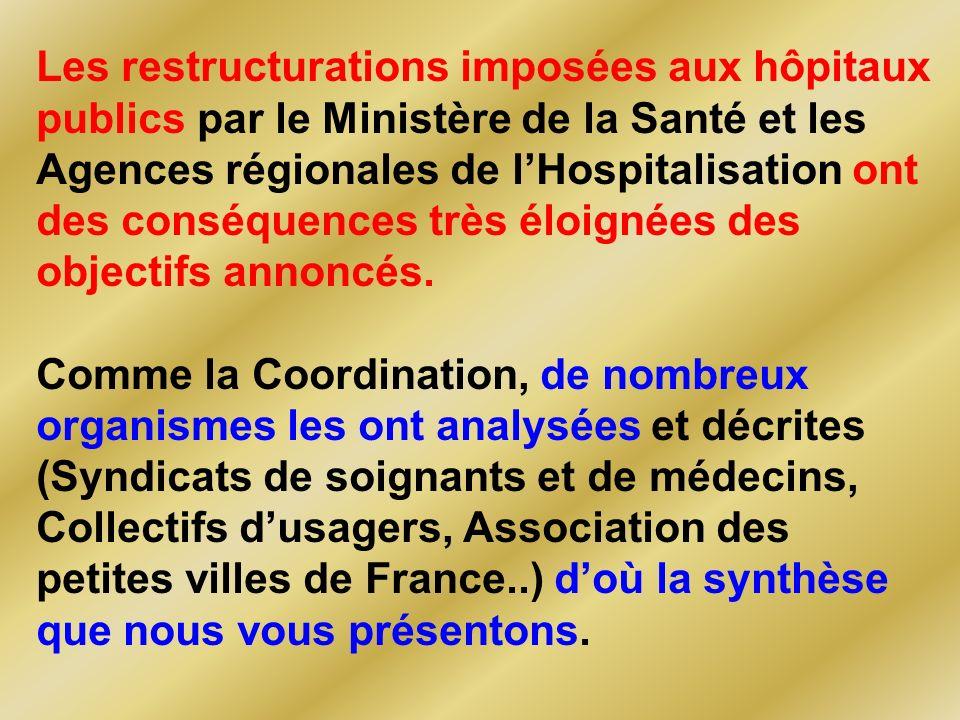 Les restructurations imposées aux hôpitaux publics par le Ministère de la Santé et les Agences régionales de lHospitalisation ont des conséquences très éloignées des objectifs annoncés.