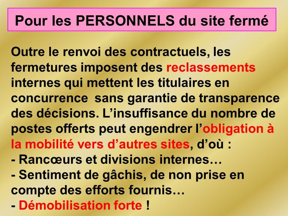 Pour les PERSONNELS du site fermé Outre le renvoi des contractuels, les fermetures imposent des reclassements internes qui mettent les titulaires en concurrence sans garantie de transparence des décisions.
