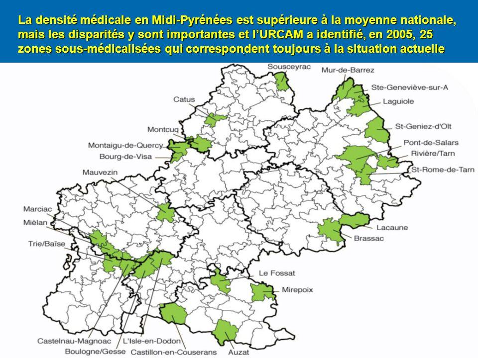 . La densité médicale en Midi-Pyrénées est supérieure à la moyenne nationale, mais les disparités y sont importantes et lURCAM a identifié, en 2005, 25 zones sous-médicalisées qui correspondent toujours à la situation actuelle