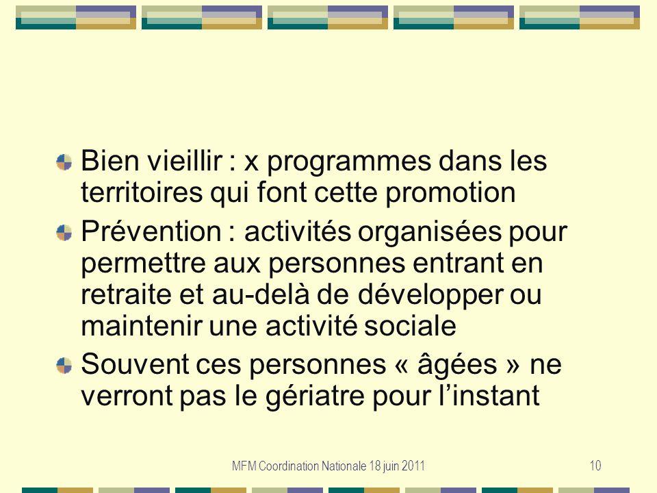 MFM Coordination Nationale 18 juin 201110 Bien vieillir : x programmes dans les territoires qui font cette promotion Prévention : activités organisées