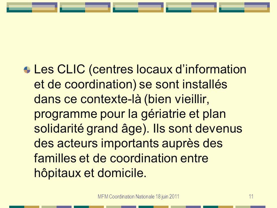 MFM Coordination Nationale 18 juin 201111 Les CLIC (centres locaux dinformation et de coordination) se sont installés dans ce contexte-là (bien vieill