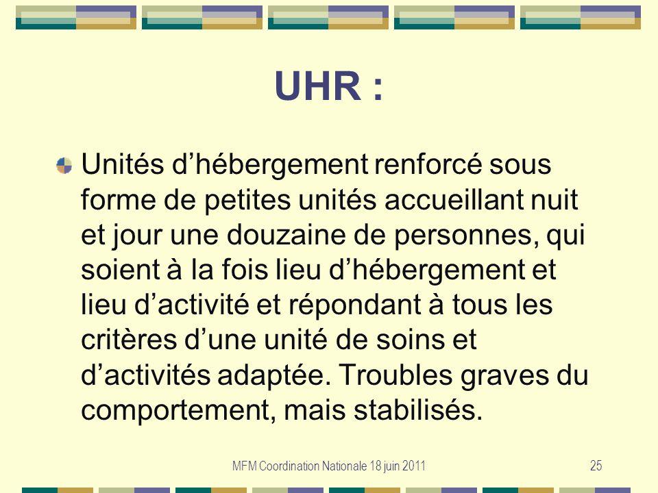 MFM Coordination Nationale 18 juin 201125 UHR : Unités dhébergement renforcé sous forme de petites unités accueillant nuit et jour une douzaine de per
