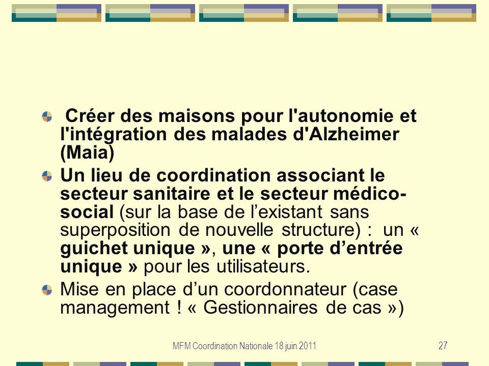MFM Coordination Nationale 18 juin 201127 Créer des maisons pour l'autonomie et l'intégration des malades d'Alzheimer (Maia) Un lieu de coordination a