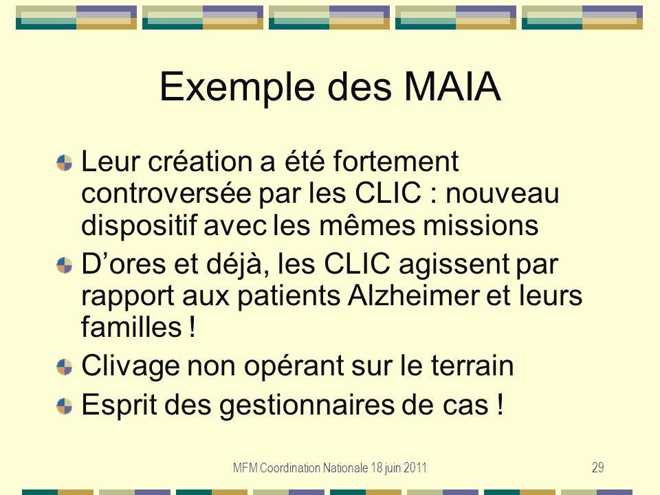 MFM Coordination Nationale 18 juin 201129 Exemple des MAIA Leur création a été fortement controversée par les CLIC : nouveau dispositif avec les mêmes