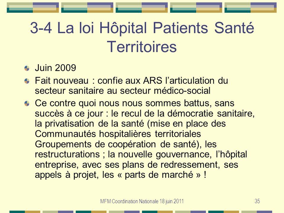 MFM Coordination Nationale 18 juin 201135 3-4 La loi Hôpital Patients Santé Territoires Juin 2009 Fait nouveau : confie aux ARS larticulation du secte