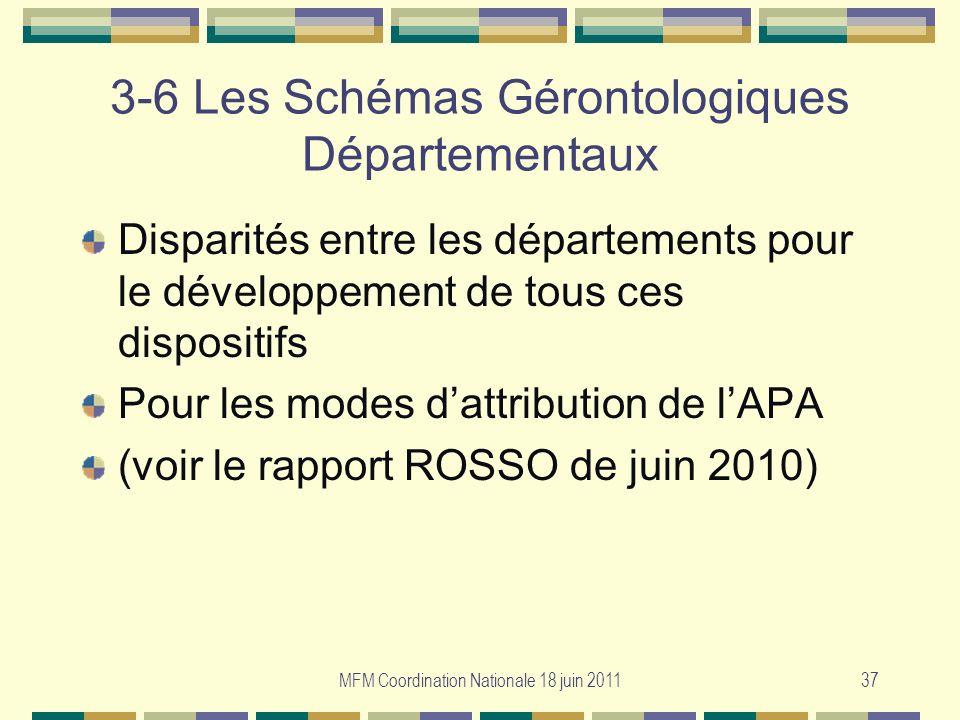MFM Coordination Nationale 18 juin 201137 3-6 Les Schémas Gérontologiques Départementaux Disparités entre les départements pour le développement de to