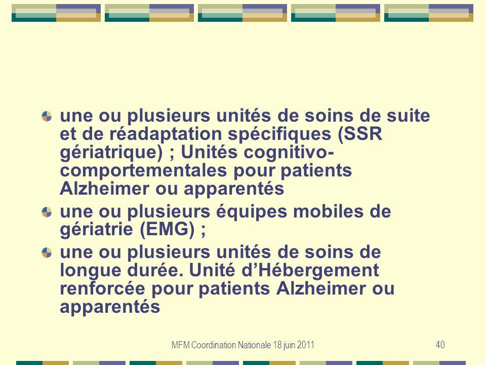 MFM Coordination Nationale 18 juin 201140 une ou plusieurs unités de soins de suite et de réadaptation spécifiques (SSR gériatrique) ; Unités cognitiv
