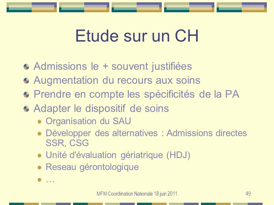 MFM Coordination Nationale 18 juin 201149 Etude sur un CH Admissions le + souvent justifiées Augmentation du recours aux soins Prendre en compte les s