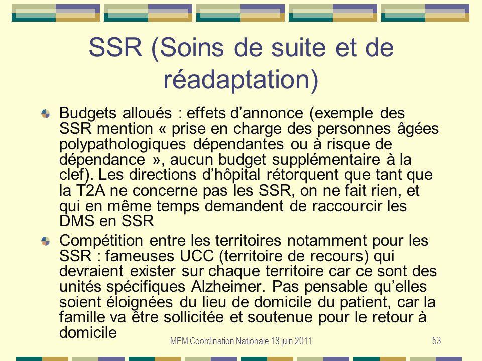 MFM Coordination Nationale 18 juin 201153 SSR (Soins de suite et de réadaptation) Budgets alloués : effets dannonce (exemple des SSR mention « prise e