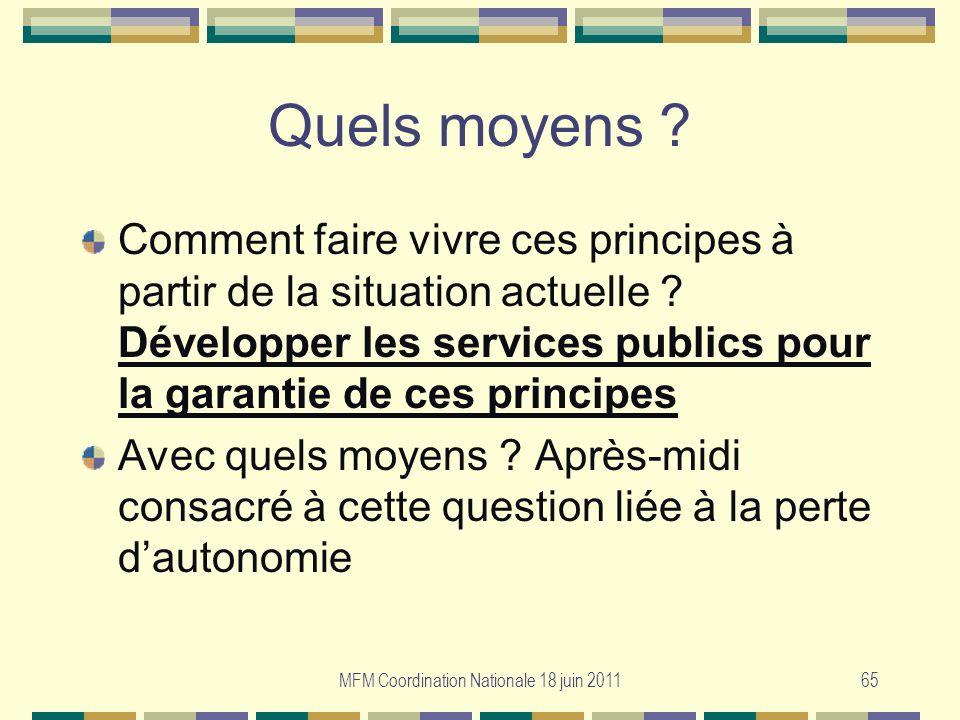 MFM Coordination Nationale 18 juin 201165 Quels moyens ? Comment faire vivre ces principes à partir de la situation actuelle ? Développer les services