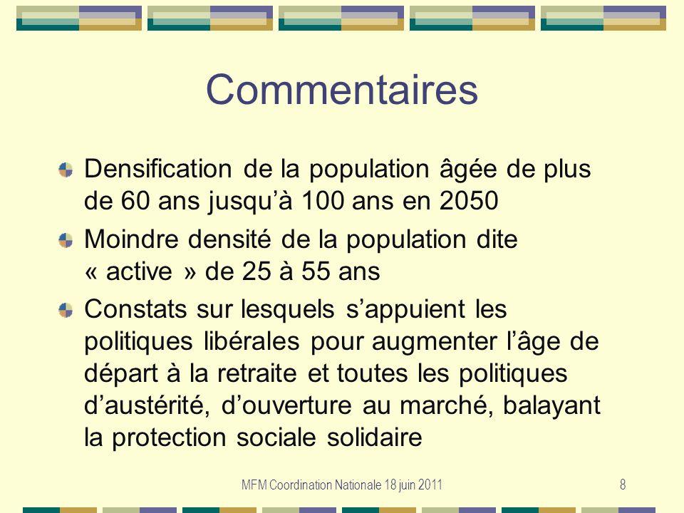 8 Commentaires Densification de la population âgée de plus de 60 ans jusquà 100 ans en 2050 Moindre densité de la population dite « active » de 25 à 5