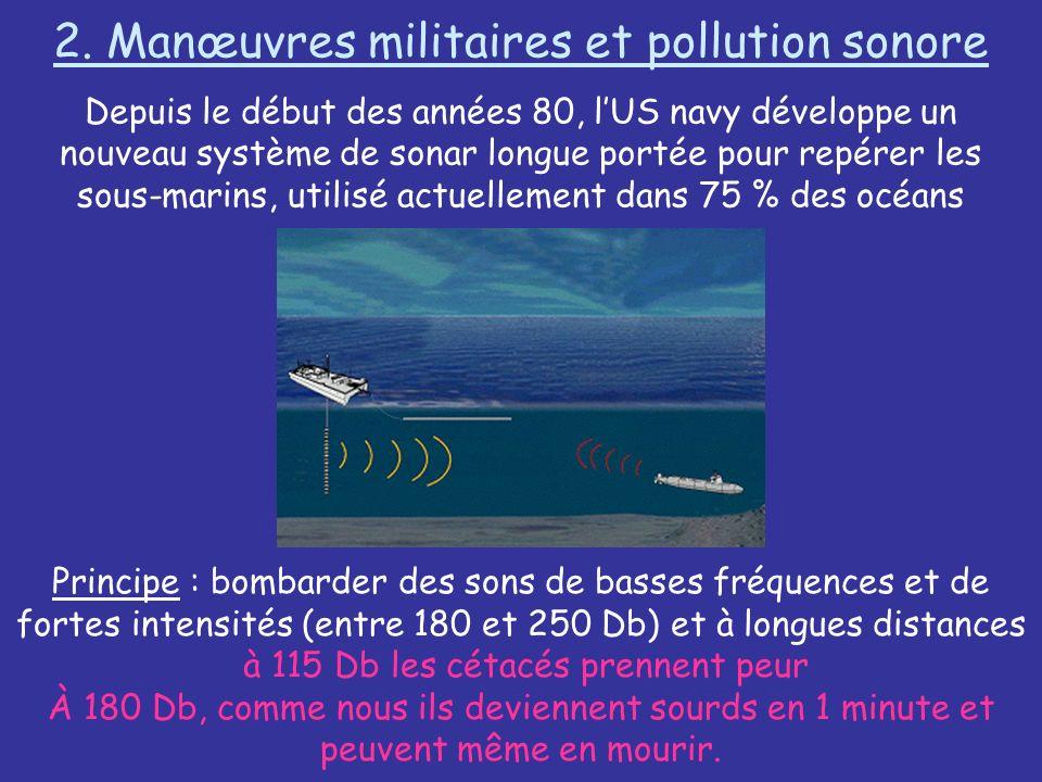 2. Manœuvres militaires et pollution sonore Depuis le début des années 80, lUS navy développe un nouveau système de sonar longue portée pour repérer l