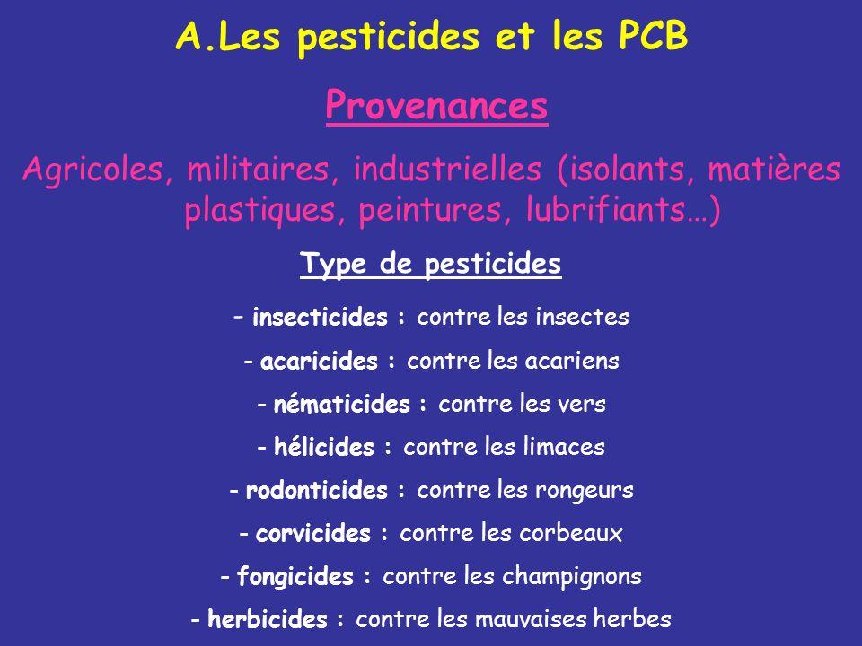 A.Les pesticides et les PCB Provenances Agricoles, militaires, industrielles (isolants, matières plastiques, peintures, lubrifiants…) Type de pesticid