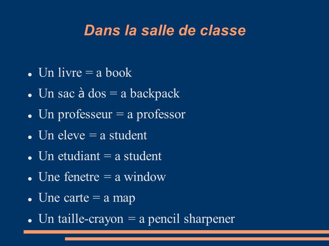 Dans la salle de classe Un livre = a book Un sac à dos = a backpack Un professeur = a professor Un eleve = a student Un etudiant = a student Une fenet