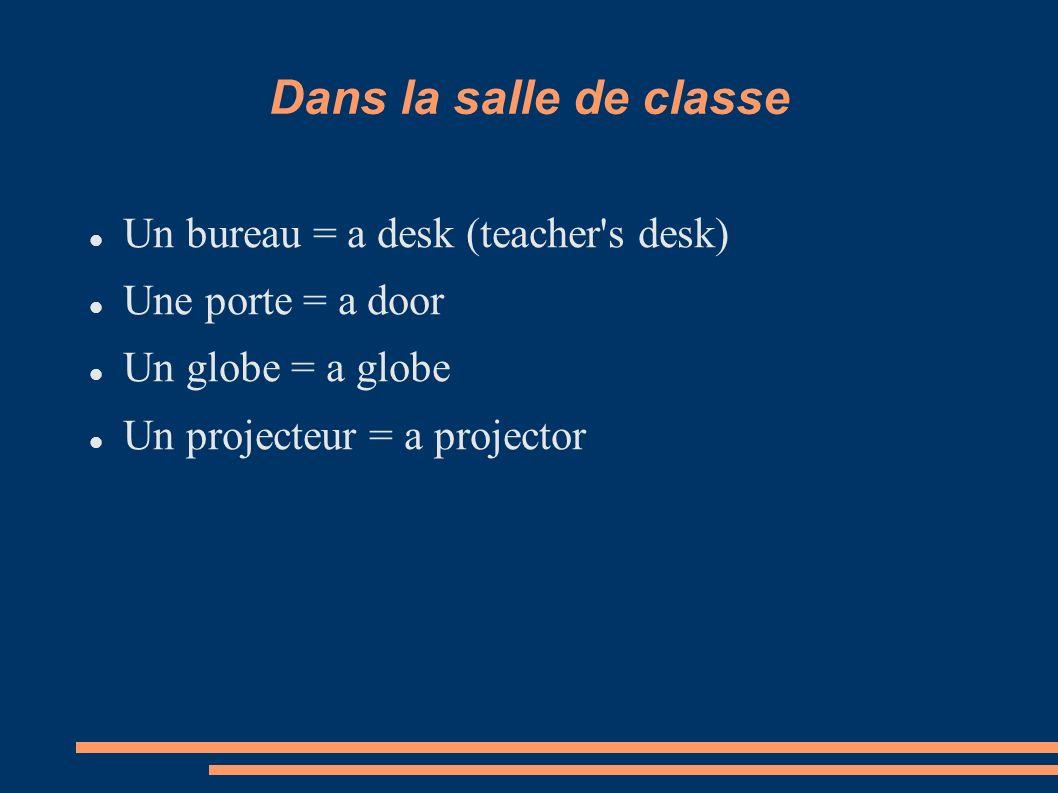 Dans la salle de classe Un bureau = a desk (teacher's desk) Une porte = a door Un globe = a globe Un projecteur = a projector