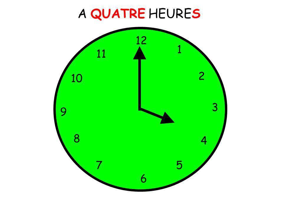 A QUATRE HEURES 12 1 5 4 9 3 6 10 11 2 7 8