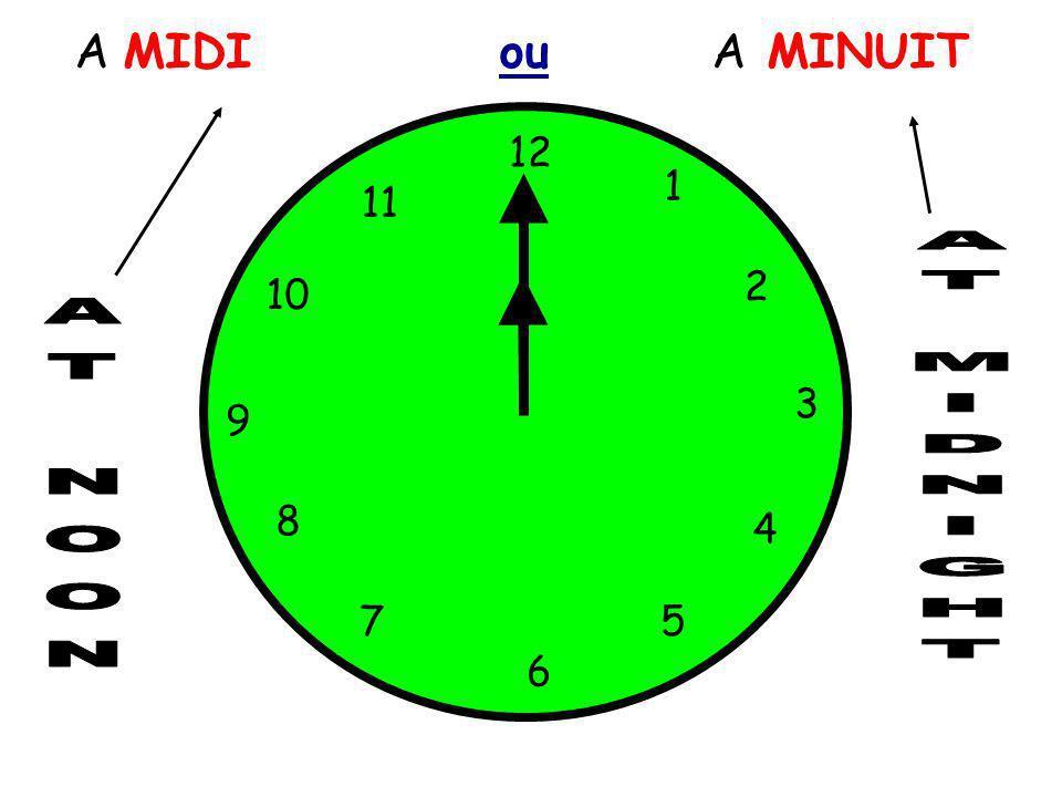 A MIDI ou A MINUIT 12 1 5 4 9 3 6 10 11 2 7 8