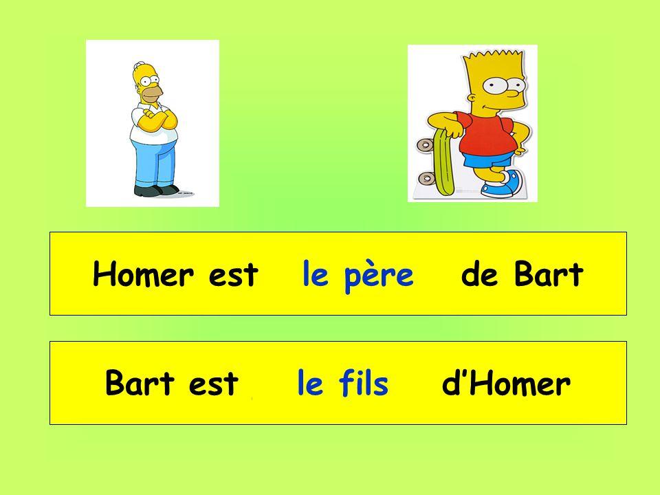 Homer est __ _____ de Bart le père Bart est __ _____ dHomer le fils