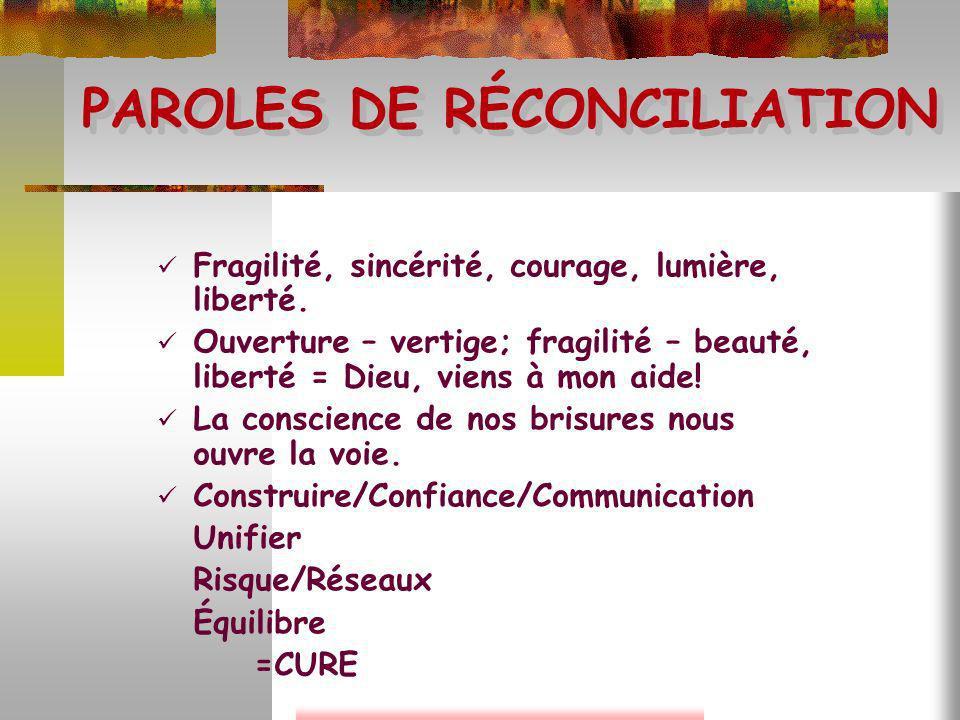 PAROLES DE RÉCONCILIATION Fragilité, sincérité, courage, lumière, liberté. Ouverture – vertige; fragilité – beauté, liberté = Dieu, viens à mon aide!