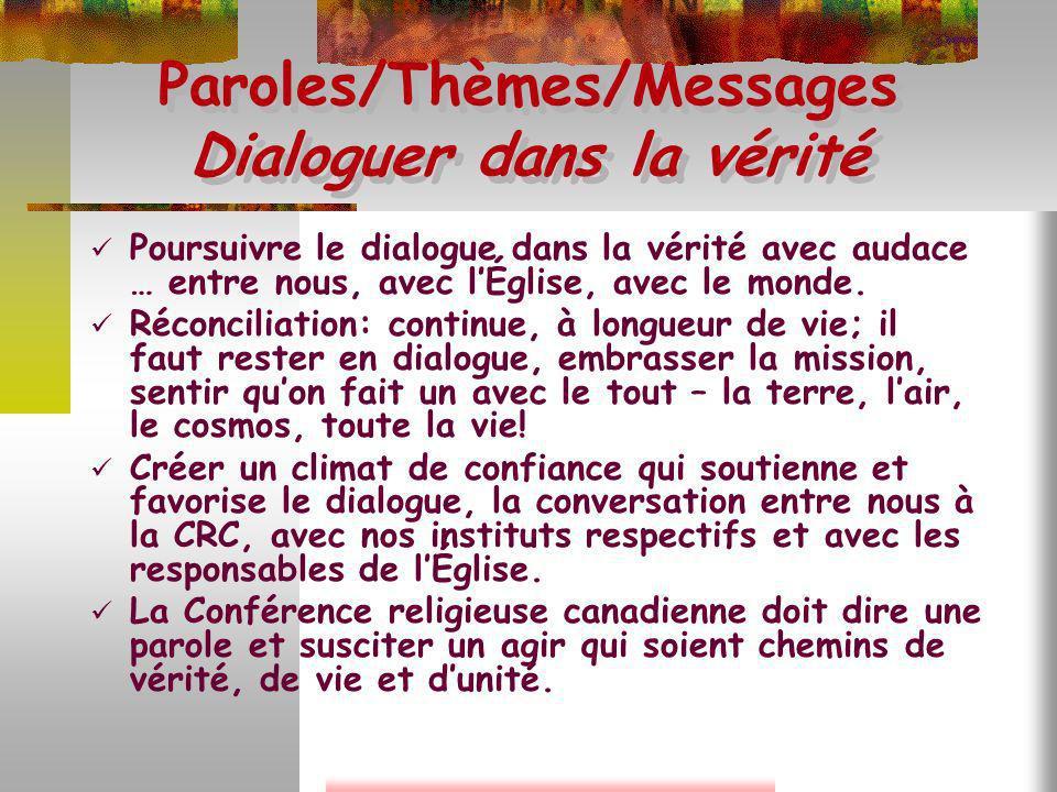 Paroles/Thèmes/Messages Dialoguer dans la vérité Poursuivre le dialogue dans la vérité avec audace … entre nous, avec lÉglise, avec le monde. Réconcil