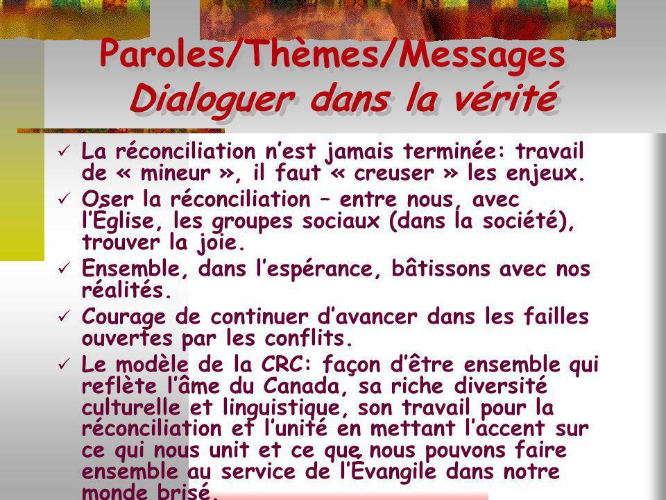 Paroles/Thèmes/Messages Dialoguer dans la vérité La réconciliation nest jamais terminée: travail de « mineur », il faut « creuser » les enjeux. Oser l
