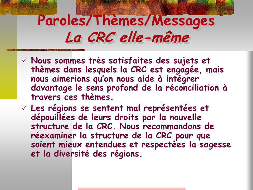 Paroles/Thèmes/Messages La CRC elle-même Nous sommes très satisfaites des sujets et thèmes dans lesquels la CRC est engagée, mais nous aimerions quon
