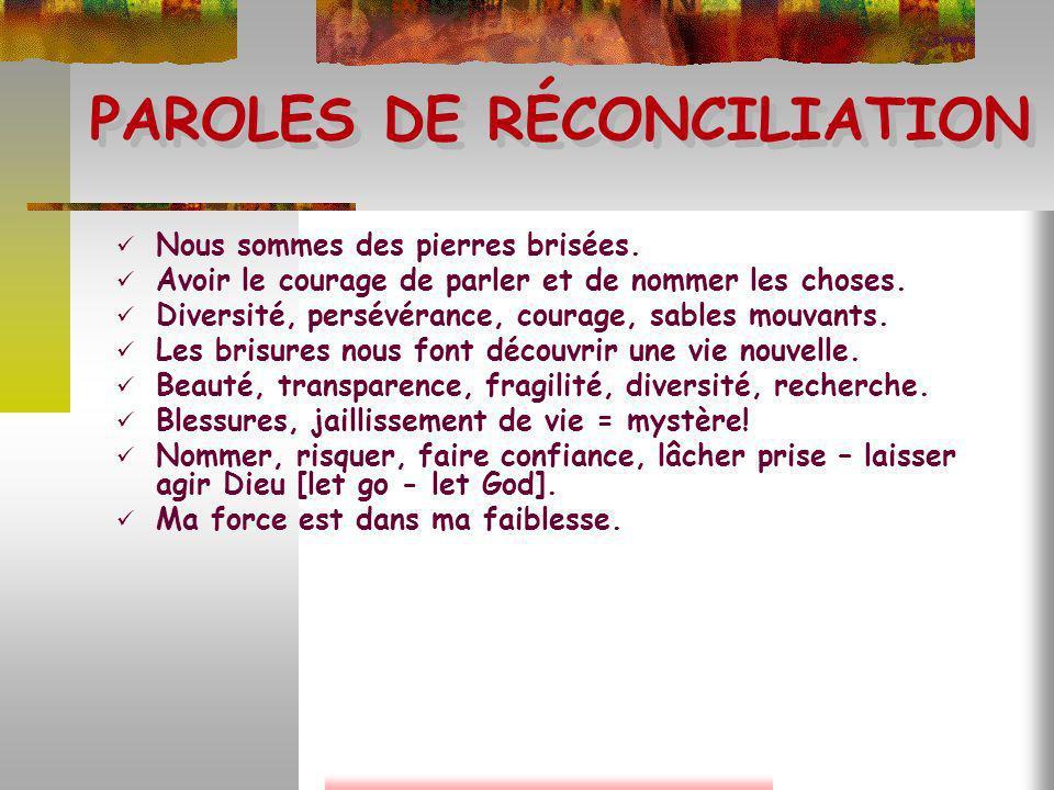 PAROLES DE RÉCONCILIATION Fragilité, sincérité, courage, lumière, liberté.