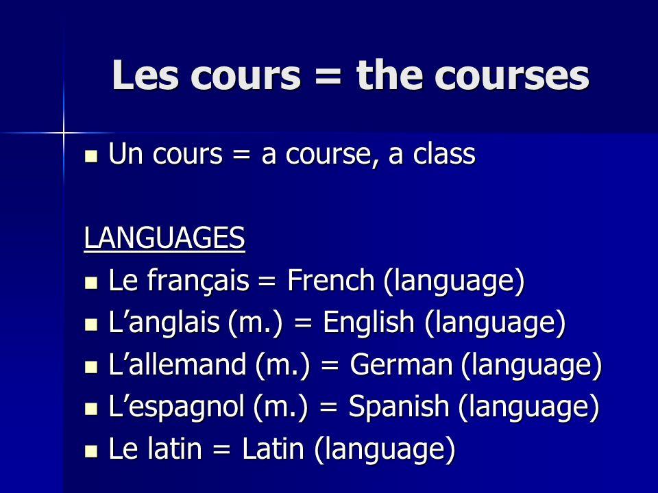 Les cours = the courses Les cours = the courses Un cours = a course, a class Un cours = a course, a classLANGUAGES Le français = French (language) Le