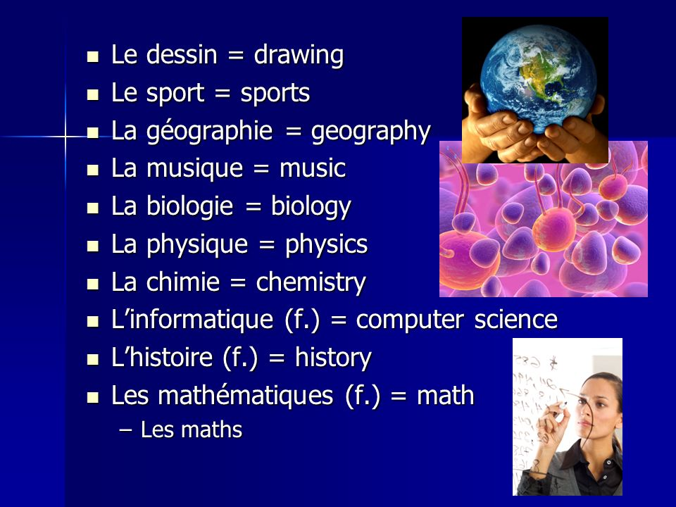 Le dessin = drawing Le dessin = drawing Le sport = sports Le sport = sports La géographie = geography La géographie = geography La musique = music La