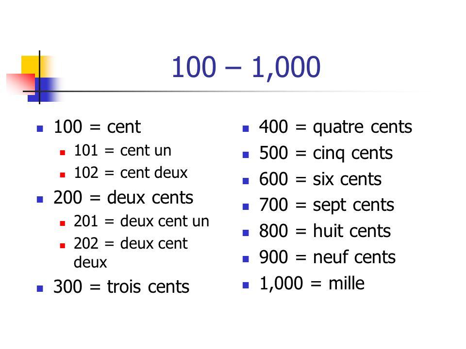 100 – 1,000 100 = cent 101 = cent un 102 = cent deux 200 = deux cents 201 = deux cent un 202 = deux cent deux 300 = trois cents 400 = quatre cents 500