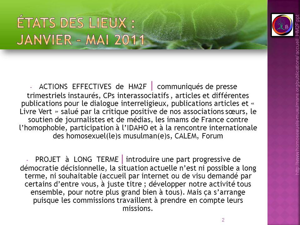 13 http://www.homosexuels-musulmans.org/publications/ accueil_HM2F.ppt Lidée est de travailler dans la fraternité de faire en sorte que lassociation ne soit pas bloquée par des relations personnelles délicates.