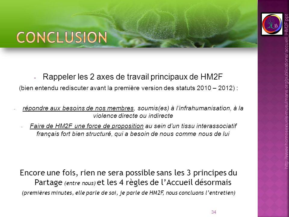 34 - Rappeler les 2 axes de travail principaux de HM2F (bien entendu rediscuter avant la première version des statuts 2010 – 2012) : - répondre aux be