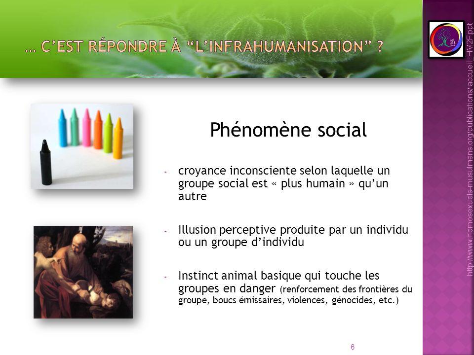 6 Phénomène social - croyance inconsciente selon laquelle un groupe social est « plus humain » quun autre - Illusion perceptive produite par un indivi
