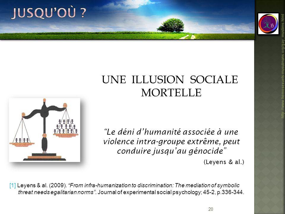 20 http://www.homosexuels-musulmans.org/gay_muslims.html UNE ILLUSION SOCIALE MORTELLE Le déni dhumanité associée à une violence intra-groupe extrême,