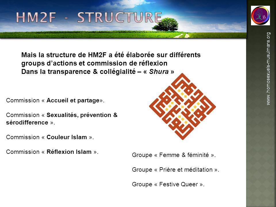 www..homosexuels-musulmans.org Mais la structure de HM2F a été élaborée sur différents groups dactions et commission de réflexion Dans la transparence