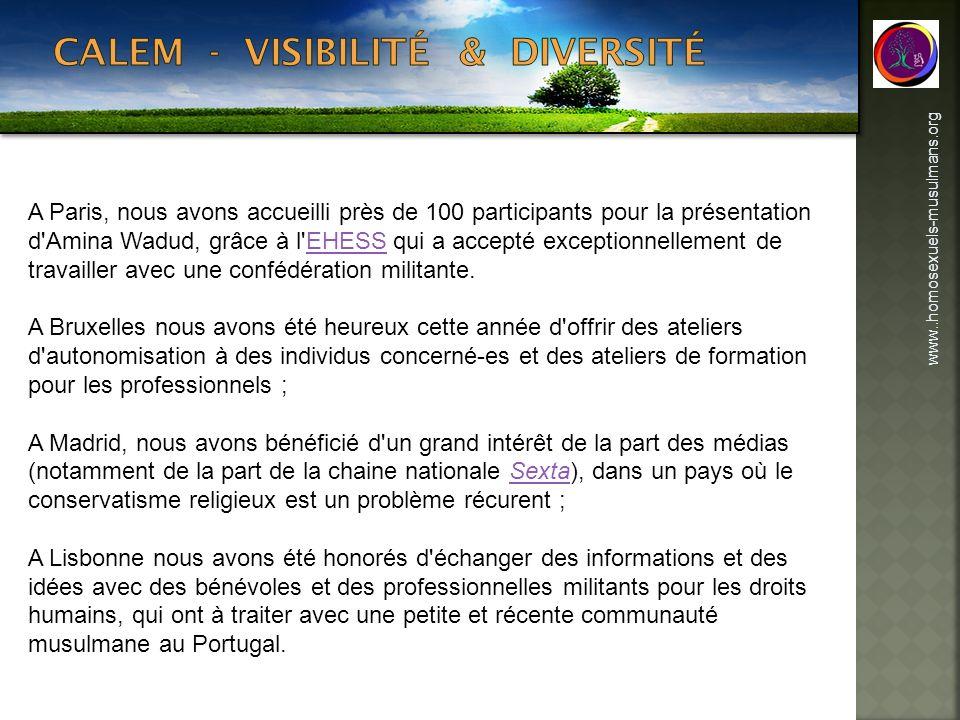 www..homosexuels-musulmans.org A Paris, nous avons accueilli près de 100 participants pour la présentation d'Amina Wadud, grâce à l'EHESS qui a accept