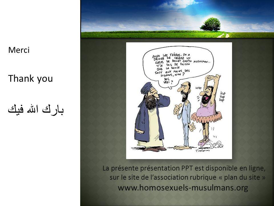 Merci Thank you بارك الله فيك La présente présentation PPT est disponible en ligne, sur le site de lassociation rubrique « plan du site » www.homosexu