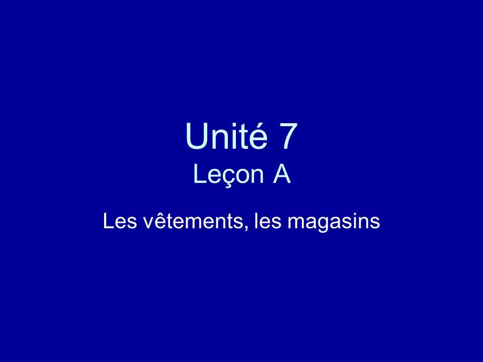 Unité 7 Leçon A Les vêtements, les magasins