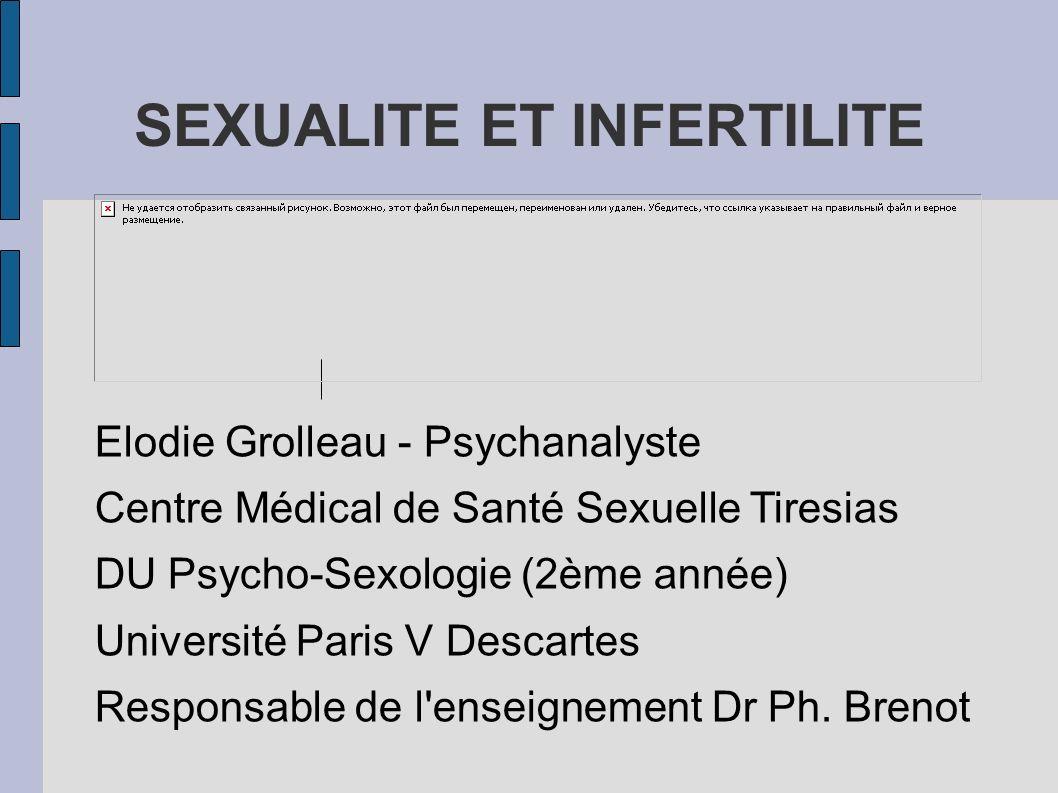 SEXUALITE ET INFERTILITE Elodie Grolleau - Psychanalyste Centre Médical de Santé Sexuelle Tiresias DU Psycho-Sexologie (2ème année) Université Paris V Descartes Responsable de l enseignement Dr Ph.