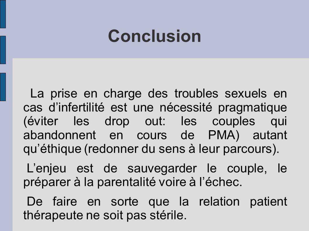 Conclusion La prise en charge des troubles sexuels en cas dinfertilité est une nécessité pragmatique (éviter les drop out: les couples qui abandonnent en cours de PMA) autant quéthique (redonner du sens à leur parcours).