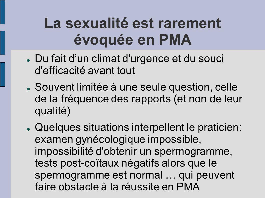 La sexualité est rarement évoquée en PMA Du fait dun climat d urgence et du souci d efficacité avant tout Souvent limitée à une seule question, celle de la fréquence des rapports (et non de leur qualité) Quelques situations interpellent le praticien: examen gynécologique impossible, impossibilité d obtenir un spermogramme, tests post-coïtaux négatifs alors que le spermogramme est normal … qui peuvent faire obstacle à la réussite en PMA