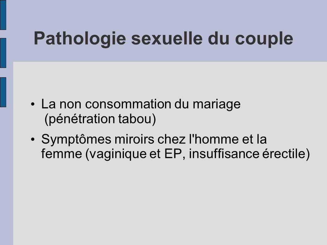 Pathologie sexuelle du couple La non consommation du mariage (pénétration tabou) Symptômes miroirs chez l'homme et la femme (vaginique et EP, insuffis