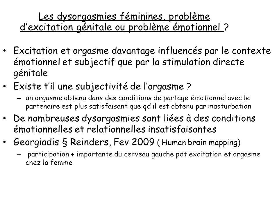 Les dysorgasmies féminines, problème dexcitation génitale ou problème émotionnel .