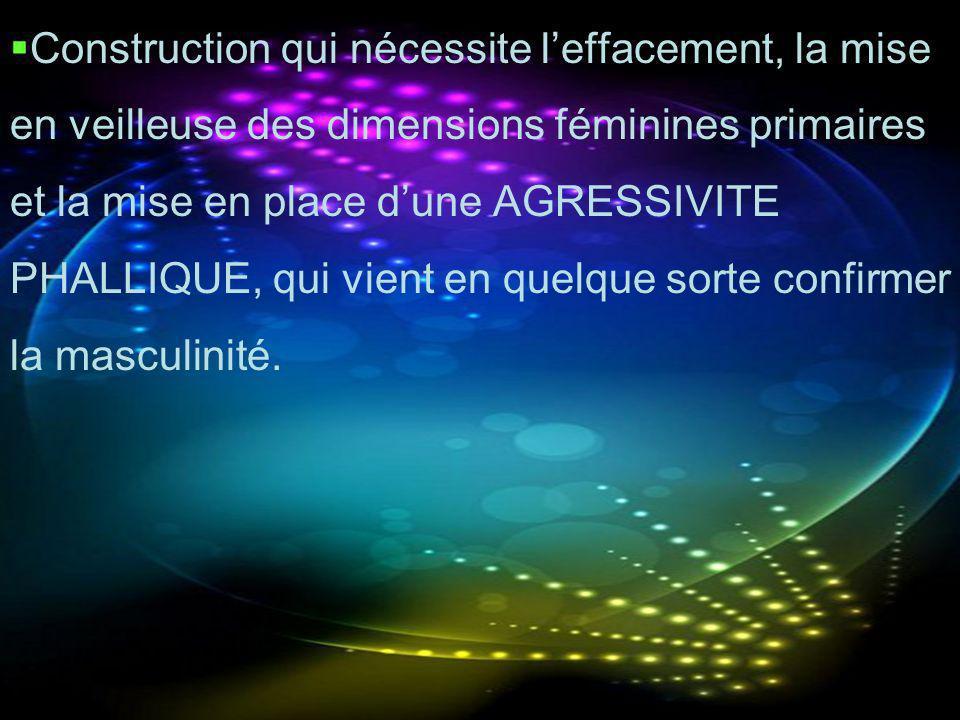 Construction qui nécessite leffacement, la mise en veilleuse des dimensions féminines primaires et la mise en place dune AGRESSIVITE PHALLIQUE, qui vi