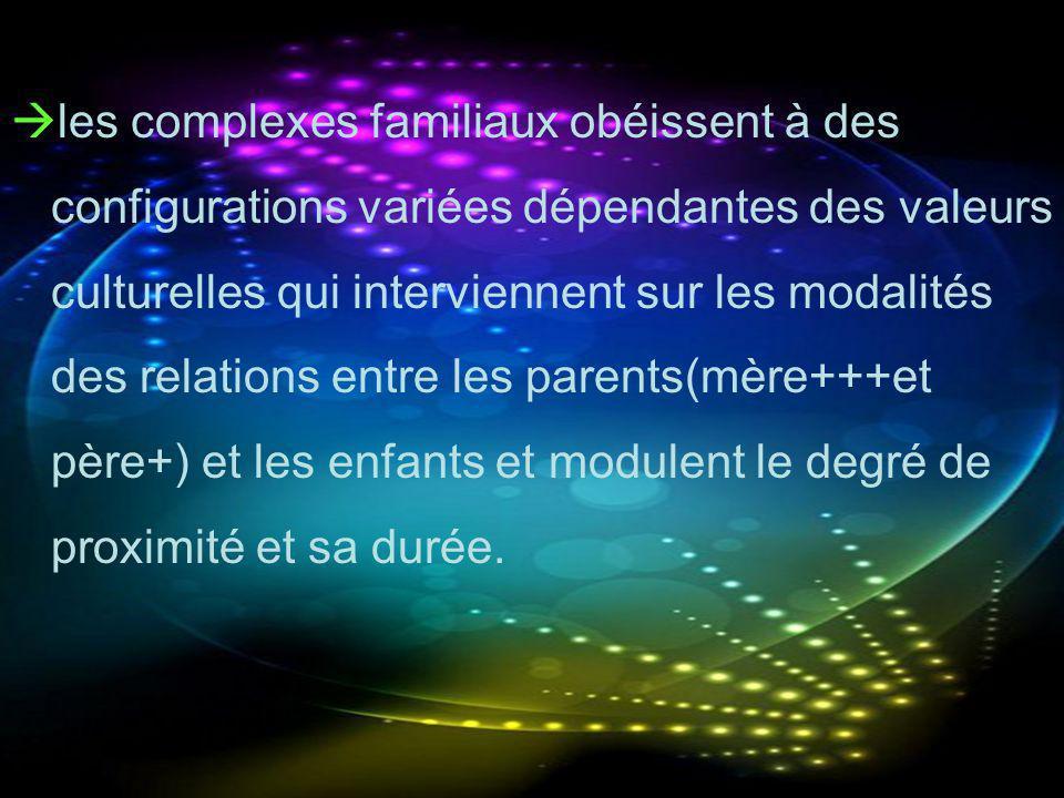 les complexes familiaux obéissent à des configurations variées dépendantes des valeurs culturelles qui interviennent sur les modalités des relations e