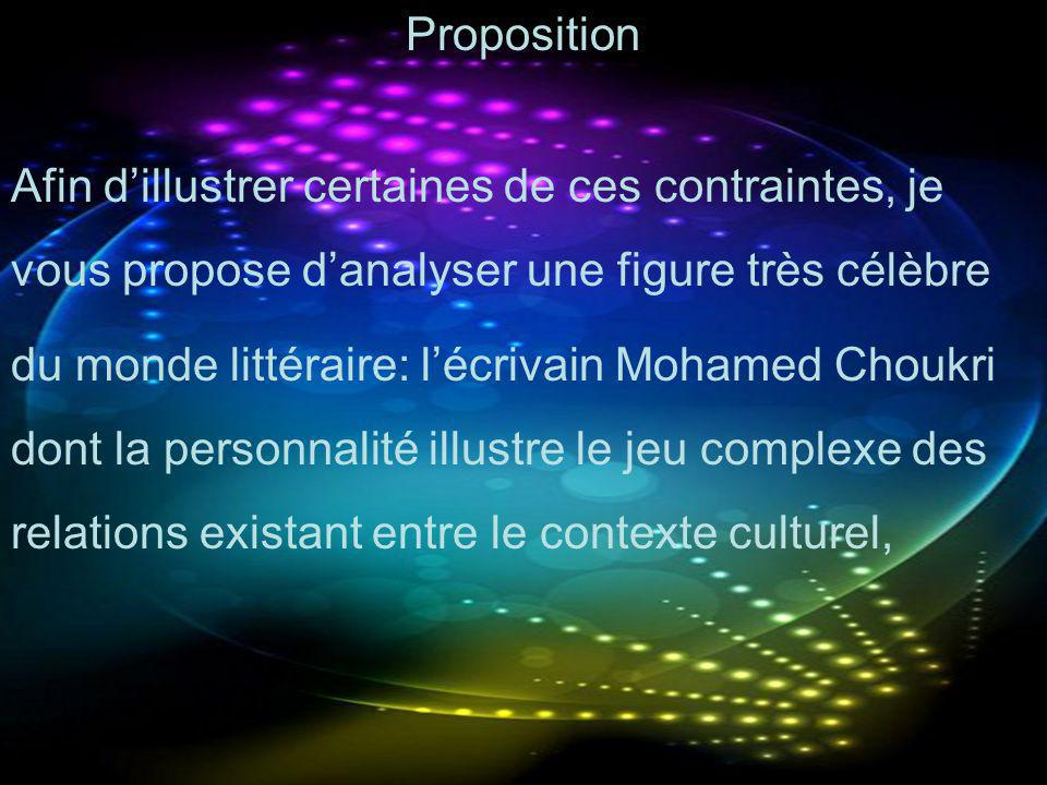 Proposition Afin dillustrer certaines de ces contraintes, je vous propose danalyser une figure très célèbre du monde littéraire: lécrivain Mohamed Cho