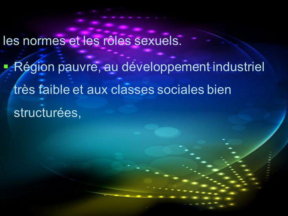 les normes et les rôles sexuels. Région pauvre, au développement industriel très faible et aux classes sociales bien structurées,