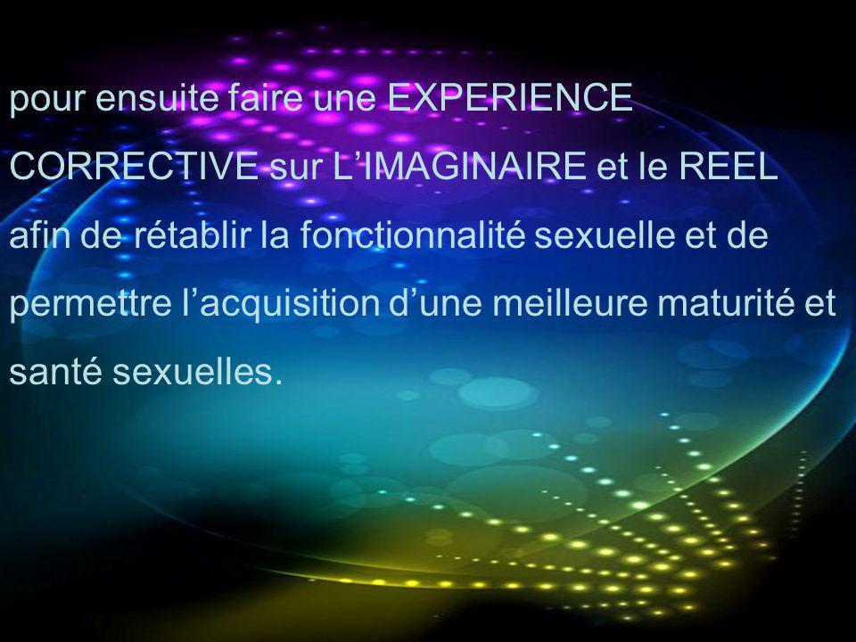 pour ensuite faire une EXPERIENCE CORRECTIVE sur LIMAGINAIRE et le REEL afin de rétablir la fonctionnalité sexuelle et de permettre lacquisition dune