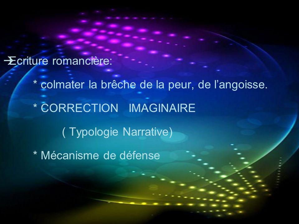 Ecriture romancière: * colmater la brêche de la peur, de langoisse. * CORRECTION IMAGINAIRE ( Typologie Narrative) * Mécanisme de défense
