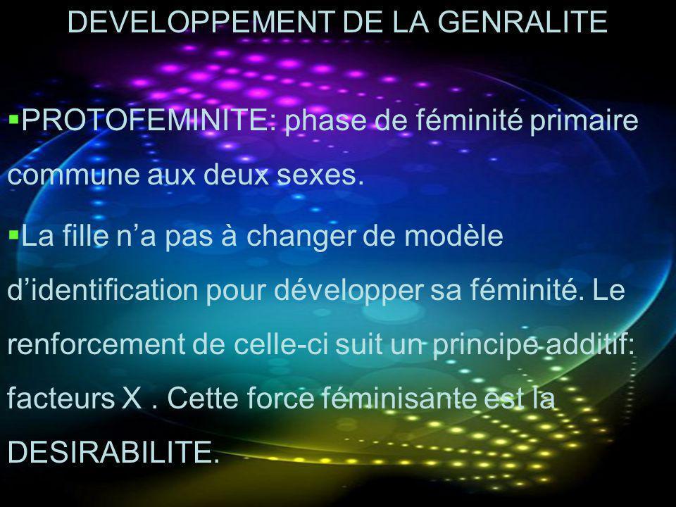DEVELOPPEMENT DE LA GENRALITE PROTOFEMINITE: phase de féminité primaire commune aux deux sexes. La fille na pas à changer de modèle didentification po
